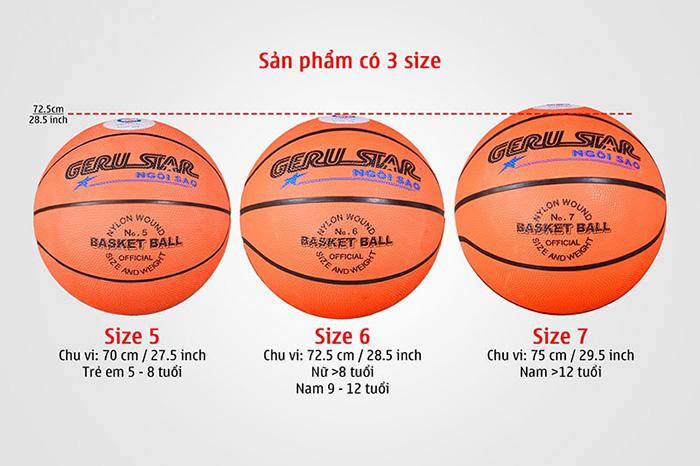 kích thước quả bóng rổ